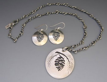Pine Cone Pendant with Matching Earrings