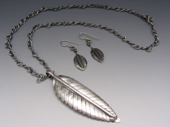 "Feather Pendant (3""), Twisted Link Chain (18""), and Earrings (2"") Set"