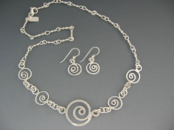 Tiny Spirals and Twisted Link Necklace and Earring Set